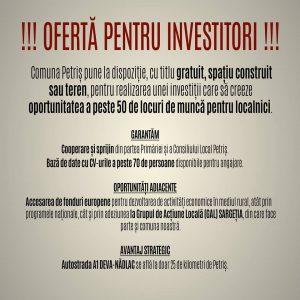 oferta investitori petris